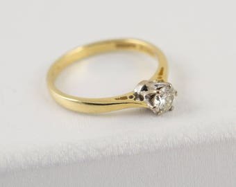 Diamond Ring 18K Gold - vintage diamond solitaire rings, round brilliant cut diamonds, engagement rings, gold rings, quality diamond rings,