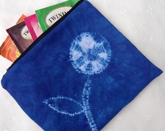 Shibori Zipper Pouch - Zipper Pouch - Hand Dyed Pouch - Wallet - Blue zipper Pouch - Tea pouch