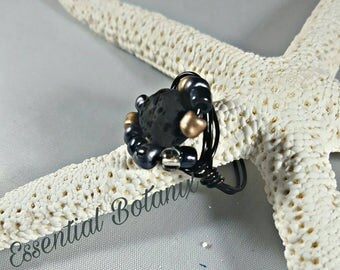 Lava Rock Ring,Aromatherapy Ring, Essential oil diffuser Ring, Beaded Ring, Wire Wrap Ring, Black Rings