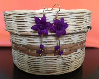 Mexican corn earrings larges flowers/ aretes de hoja de maíz/ totomoztle