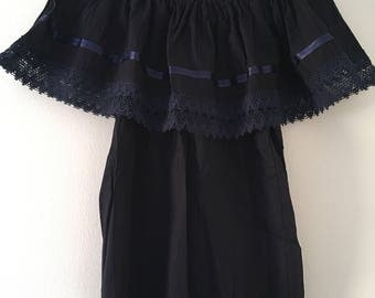Campesina mexican navy blue blouse