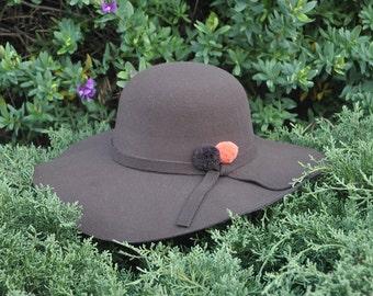 Hat Brown Pom Pom Orange and Brown