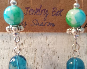 Jelly bean Dangle Fish Hook Earrings - Blue