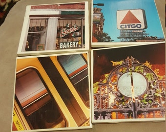 Set of 4 photography coasters of Boston Mass featuring original photography