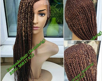 Braided Wig, wholelace/full lace unit, Cornrow with braids at the back. Black 27/30. 20-22 inches. Braidwig, Braidswig.