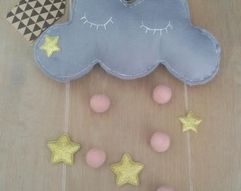 Baby gift, Baby mobile, cloud mobile, babyroom mobile, girlsroom, filt mobile, dreamcatcher, wall decoration, unique gift, baby shower gift