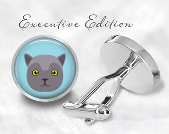 British Shorthair Cat Cufflinks - Shorthair Cufflinks - Cat Cuff Links (Pair) Lifetime Guarantee (S0885)