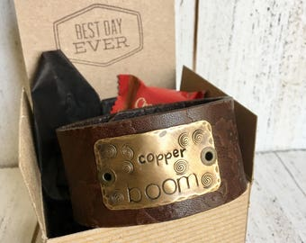 Brown or Black Leather Cuff Bracelet, 'Copper Boom' 'In Omnia Paratus' 'Oy with the Poodles Already' Gilmore Girls, Bronze, adjustable, wome