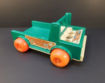 Vintage Fisher Price Little People Truck, Fisher Price Camper Truck, 1970's Toys