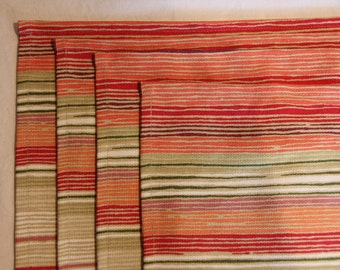 Handmade placemats, gold, red and orange cotton placemats