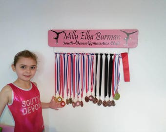 Personalised Gymnastics Medal Display Board Hanger many colours available (Width 45 or 70cm)