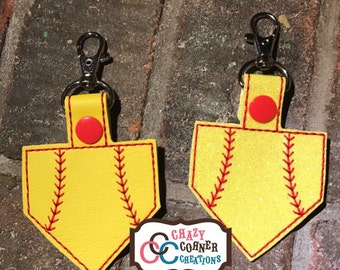 Softball homeplate Keychain-Softball Keychain-Softball Homeplate-Homeplate bagtag-Softball bagtag