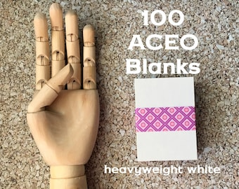 ACEO ATC Blanks (100) . Heavyweight White Chipboard Thick Artist Trading Cards Art Supplies Mixed Media Assemblage Artist Supply Painting