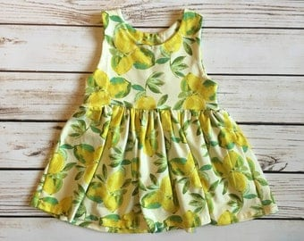 Lemon Dress // Lemon Peplum Top // Baby Dress // Toddler Dress // Toddler Peplum Top // Toddler Dress // Sleeveless Summer Dress