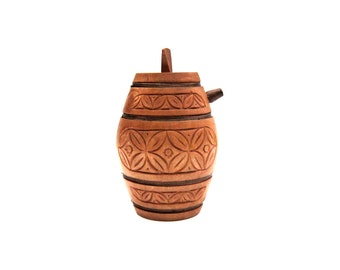 Chip Carved Wooden Flask