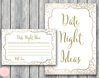 Gold Date Night Ideas, Date Night Cards, Date Night Sign, Bridal Shower Activity, Bridal shower game, Printable Game WD93 TH62
