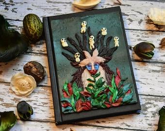Forest spirit deer god A6 polymer clay handmade cover. Glow in the dark little creatures. Hand sculpted notebook