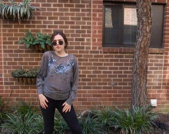 Vintage Sheer Metallic Sweater with Beading