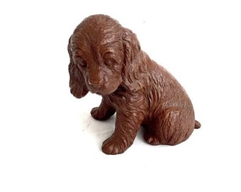 SALE Dog figurine vintage red mill resin brown spaniel puppy collectable dog figurine