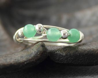 Aventurine Ring - Sterling Silver Ring - Wire Wrapped Ring - Green Stone Ring - Healing Crystal Ring - Silver Wire Ring - Handcrafted Ring