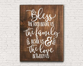 Blessing Sign - Bless This Family - Bless This Food - Bless This Love - Christian Home Decor - Religious Home Decor - Wooden Blessing Sign