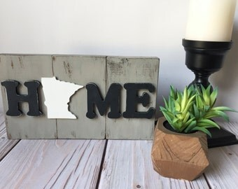 Home Sign- Wood Sign - Rustic Home Decor - Minnesota Sign - Wall Art - Fathers Day - State Signs - Rustic Sign - Home State - Home Decor