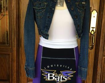 Louisville Bats MiLB Game Day skirt, handmade from upcycled tshirts, medium