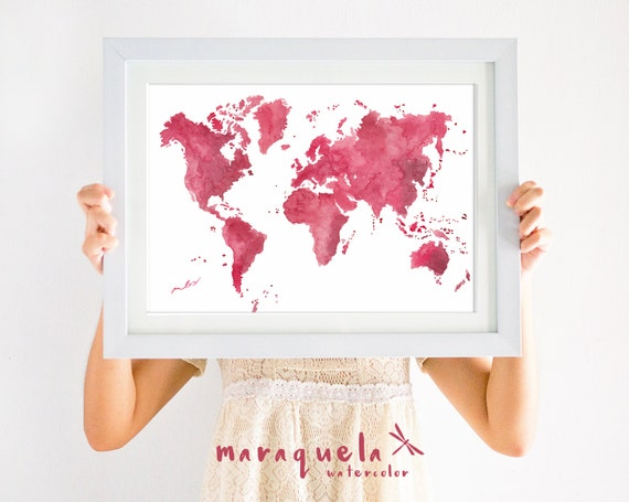 ORIGINAL WORLD map WATERCOLOR Bourdeaux, wine red hues Watercolour,Gift Homedecor, christmas gifts, only Handmade.Mapa mundi,painted by hand