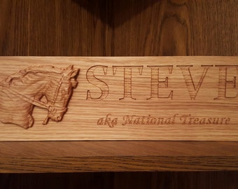 Custom Oak Barn Stable Stall Door Plaque Sign - 3D Carved Horse Head - Engraved Name and Ridden By, Show Name, Owned By - Hard wood
