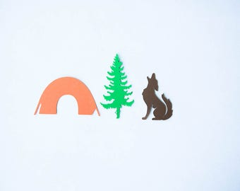 Camping Confetti, Coyote, Tent, Pine Tree, Camping Party, Camping Birthday, Coyote Confetti