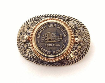 Vintage 1888-1988 Harper High School Harper, Kansas Brass Coin & Goldtone Steel Belt Buckle