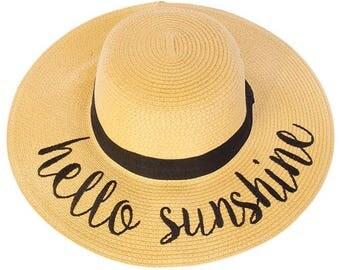 Floppy Beach Hat - Hello Sunshine - Embroidered Large Brim Sun Hat - Floppy Hat - Vacation - Summer - Boat Hat - Beach Sun Hat