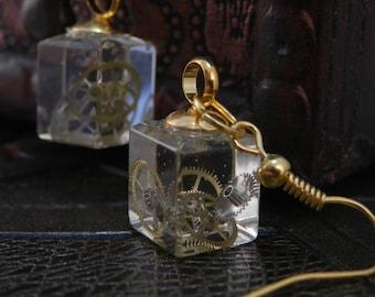 Steampunk Resin Cube Earrings