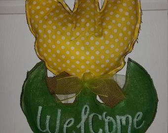 SPRING flower tulip yellow bright burlap door hanger for Mother's Day