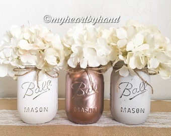 Rose Gold White Light Gray Mason Jar Centerpieces, Rustic Home Decor, Baby Shower Centerpieces, Wedding Decor, Painted Ball Jar, Vases