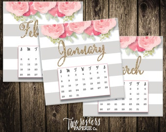 2017 PRINTABLE CALENDAR - Gold Glitter Desk Calendar - Floral Calendar - Floral Striped Desk Calendar - Instant Download