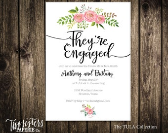Floral Engagement Party Invitation - TULA Collection - Floral Engagement Party Invitation - Pink Floral Engagement
