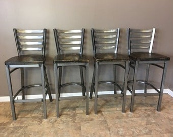Reclaimed Bar Stool| Set of 4 | In Gun Metal Gray Metal Finish | Ladder Back Metal | Restaurant Grade -30 Inch High Barstool