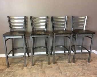 Reclaimed Bar Stool| Set of 4 | In Gun Metal Gray Metal Finish | Ladder & Bar stool | Etsy islam-shia.org