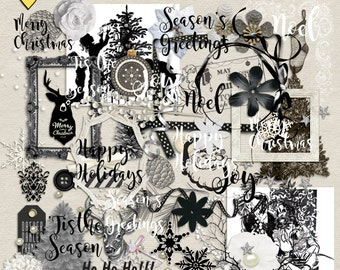 SUMMER SALE - Black And White Christmas - Digital Scrapbooking Elements