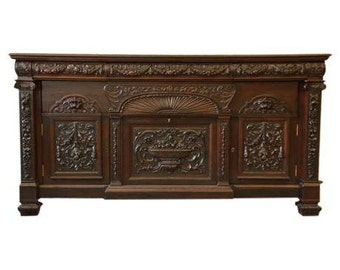 SOLD - 19th Century Ornate Victorian Mahogany Sideboard in the Manner of R.J. Horner