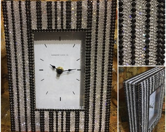 Home Decor Table Clock / Rhinestone Clock / Bling Bling / Bling Decor / Shelf Clock / Unique Clock