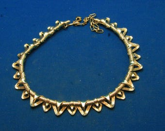 Vintage Adjustable STAR Mid Century Gold Tone Choker Necklace