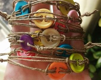 Set of Button Bracelets, twine bracelet, adjustable bracelet, hipster bracelet, simple bracelet, rustic bracelet, rustic jewelry