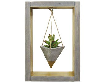 Air Planter, Wall Planter, Succulent Planter, Concrete Planter, Modern Planter, Hanging Planter, Mini Gold Planter, Shadow Box, Gift for Her