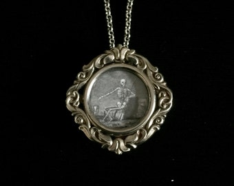 antique french memento mori skeleton reliquary locket necklace