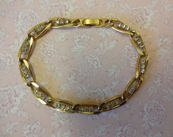 Vintage Tennis Bracelet, Diamante Tennis Bracelet, Crystal Bracelet, Gold Link Bracelet, Rhinestone Bracelet, Articulated Bracelet