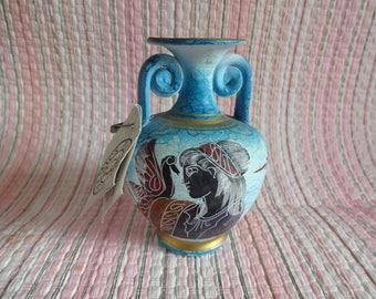 Vintage Greek Urn, Small Greek Vase, Small Greek Vase, Greek Vase, Handpainted Vase, Copy Museum Piece Greek Vase, Museum Urn