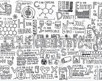 Chemistry Alphabet Coloring Page Science Art