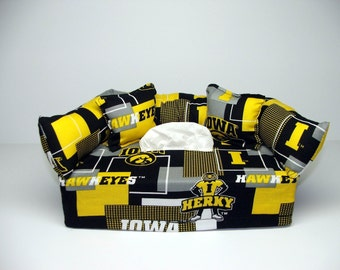 University of Iowa Licensed fabric tissue box cover, Kleenex box cover.